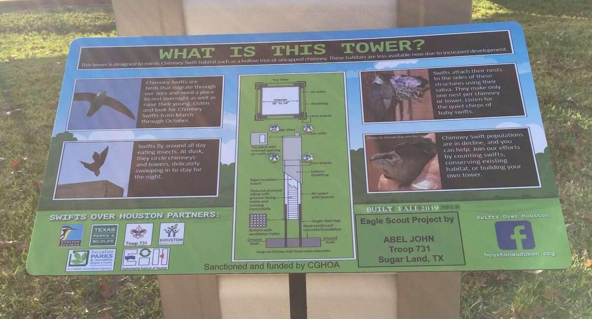 Sugar Land Boy ScoutAbel John included information about Chimney Swifts and the tower on his site near a lake and tennis courts of theColony Grant Homeowners Association.