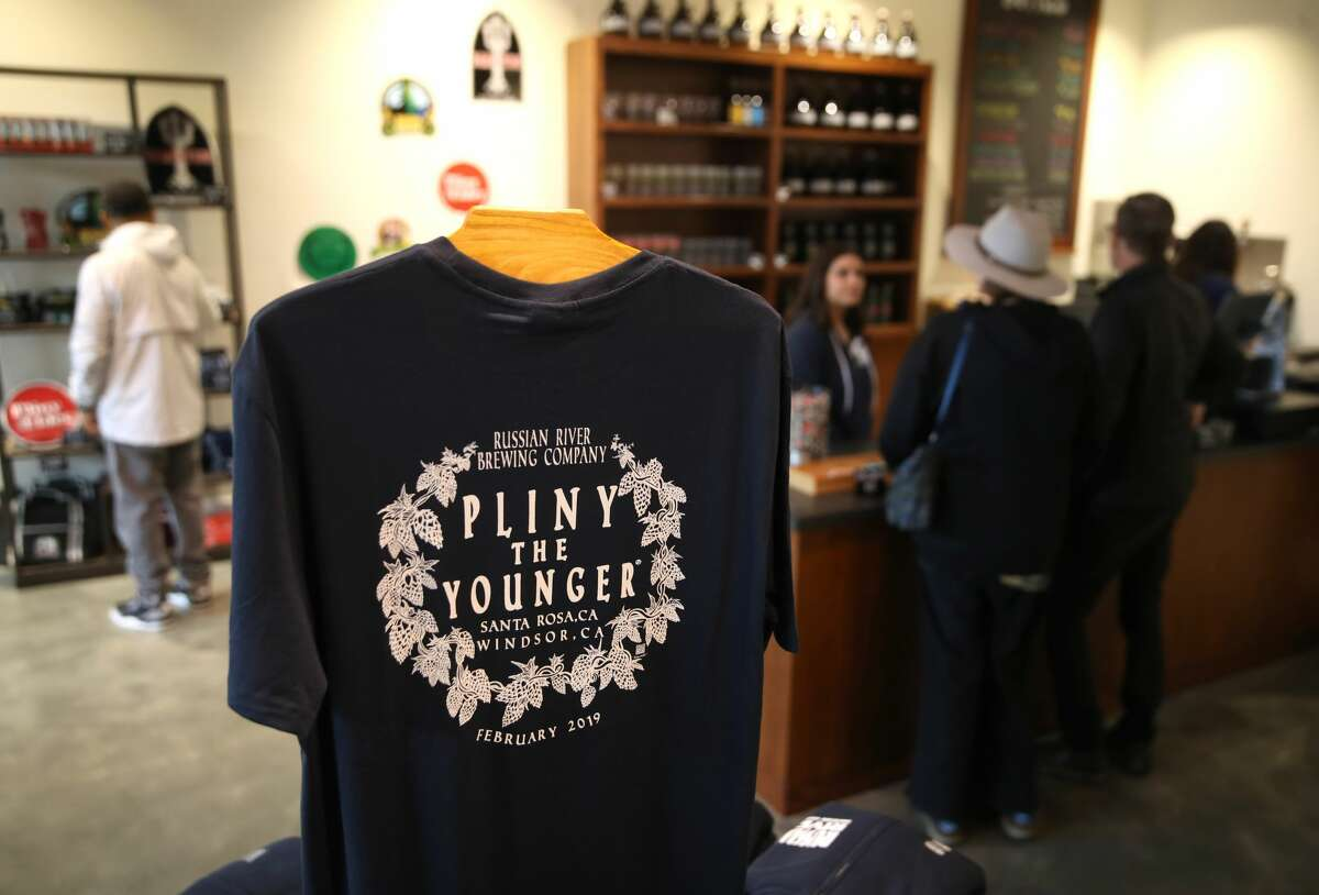 A t-shirt with the logo of Russian River Brewing's Pliny the Younger is displayed at the Russian River Brewing Company on February 01, 2019 in Windsor, Calif.
