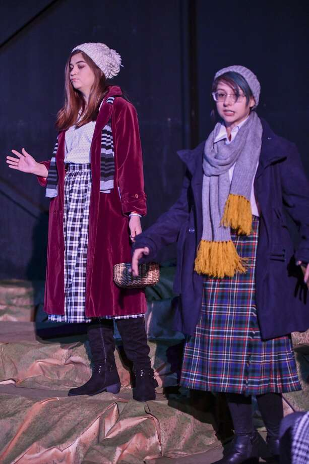 Alex Aldas, who plays Olive Allison, and Alexa Nease perform The Women of Lockerbie on Monday, Feb. 3, 2020 at the Black Box located behind the Globe of the Southwest. Jacy Lewis/Reporter-Telegram Photo: Jacy Lewis/Reporter-Telegram