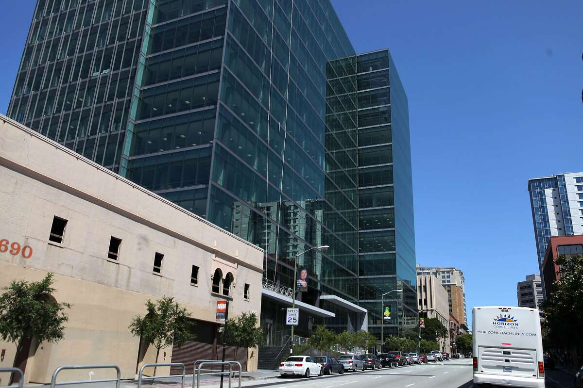 At 680 Folsom Street, is one of four buildings in San Francisco that has shed its outer concrete layer in exchange for sleek glass in San Francisco, Calif. on April 19, 2014.