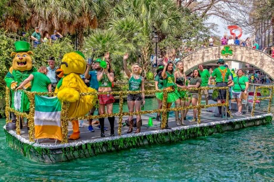 Since 1968, the water in the San Antonio River Walk has been dyed green to celebrate and honor St. Patrick's Day. Photo: San Antonio River Walk Association