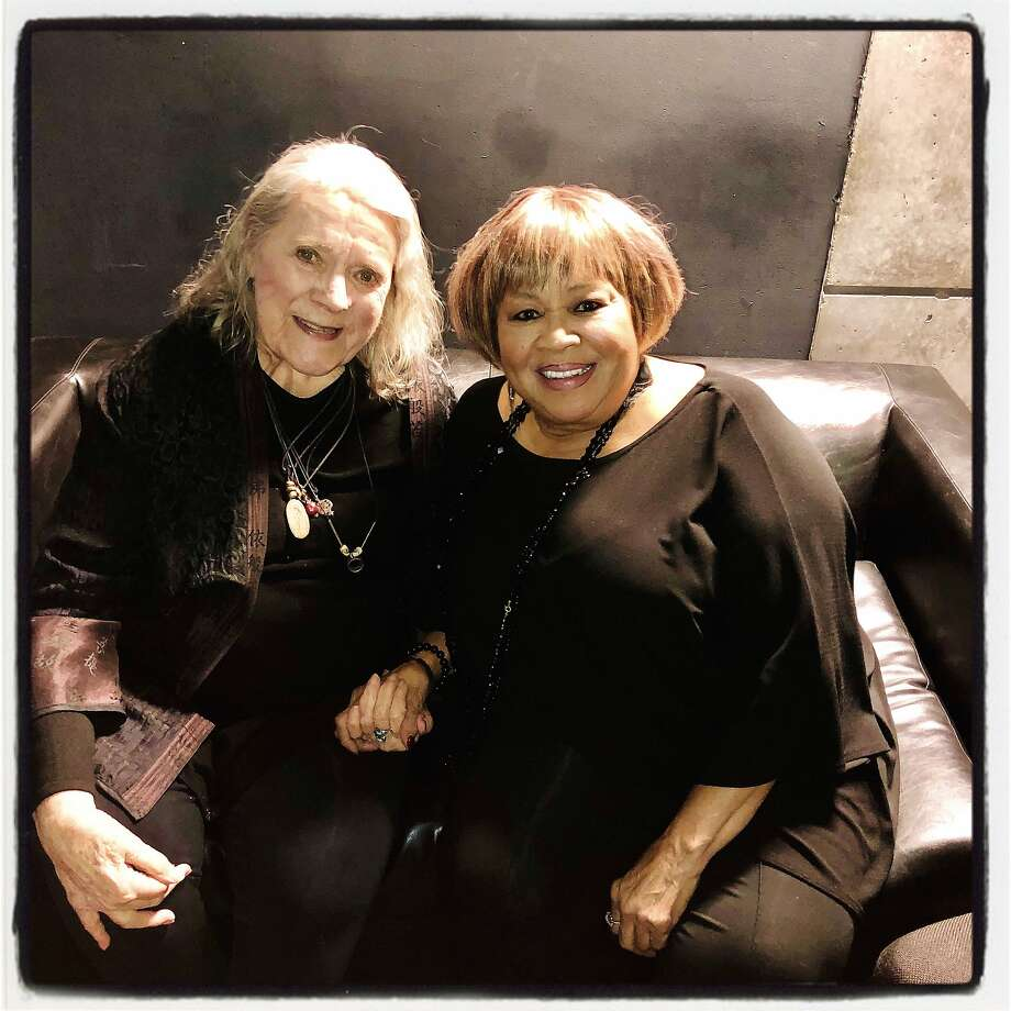 Jazz vocalists Barbara Dane (left) and SFJazz Gala honoree Mavis Staples. Jan. 30, 2020. Photo: Catherine Bigelow / Special To The Chronicle