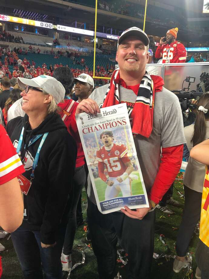 Kansas City Chiefs' offensive lineman and Midland High alum Andrew Wylie holds a copy of the Miami Herald following the Chiefs' 31-20 win over the San Francisco 49ers in Super Bowl LIV on Sunday in Miami Gardens, Fla. Photo: Photo Provided