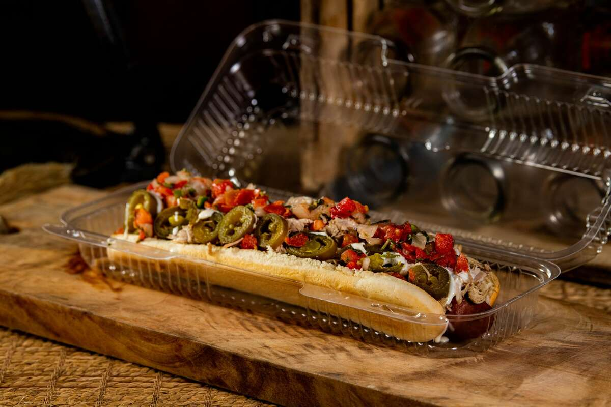El Mariachi Foot-Long Hot DogNolan Ryan all-beef hot dog, topped with queso blanco, roasted pork lechon asado, pico de gallo and pickled jalapenos.(Available at portable concession at Section 105 and at Downtown Dog)