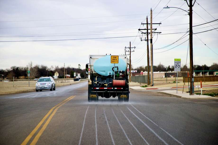 The City of Plainview crews began putting brine on the streets Monday in anticipation of the possible 2-4 inches of snow. Photo: Don Brown/For The Herald