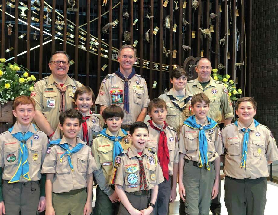 Andrew Reed (T70); Steve Prostor (Cubmaster — Pack 70); Lucas Breed (T70); Jack Winalski (T70); James Bakal (T70); Chris Winalski (Scoutmaster — Troop 70); Aidan Prostor (P70); Andrew Moor (T70); Ajay Boyd (Eagle Scout) (T70); John Murphy (T70); Neil Boyd (Assistant Scoutmaster — Troop 70); Lars Maechling (T70); Graham Ernst ( T70), not pictured. Photo: Contributed Photo