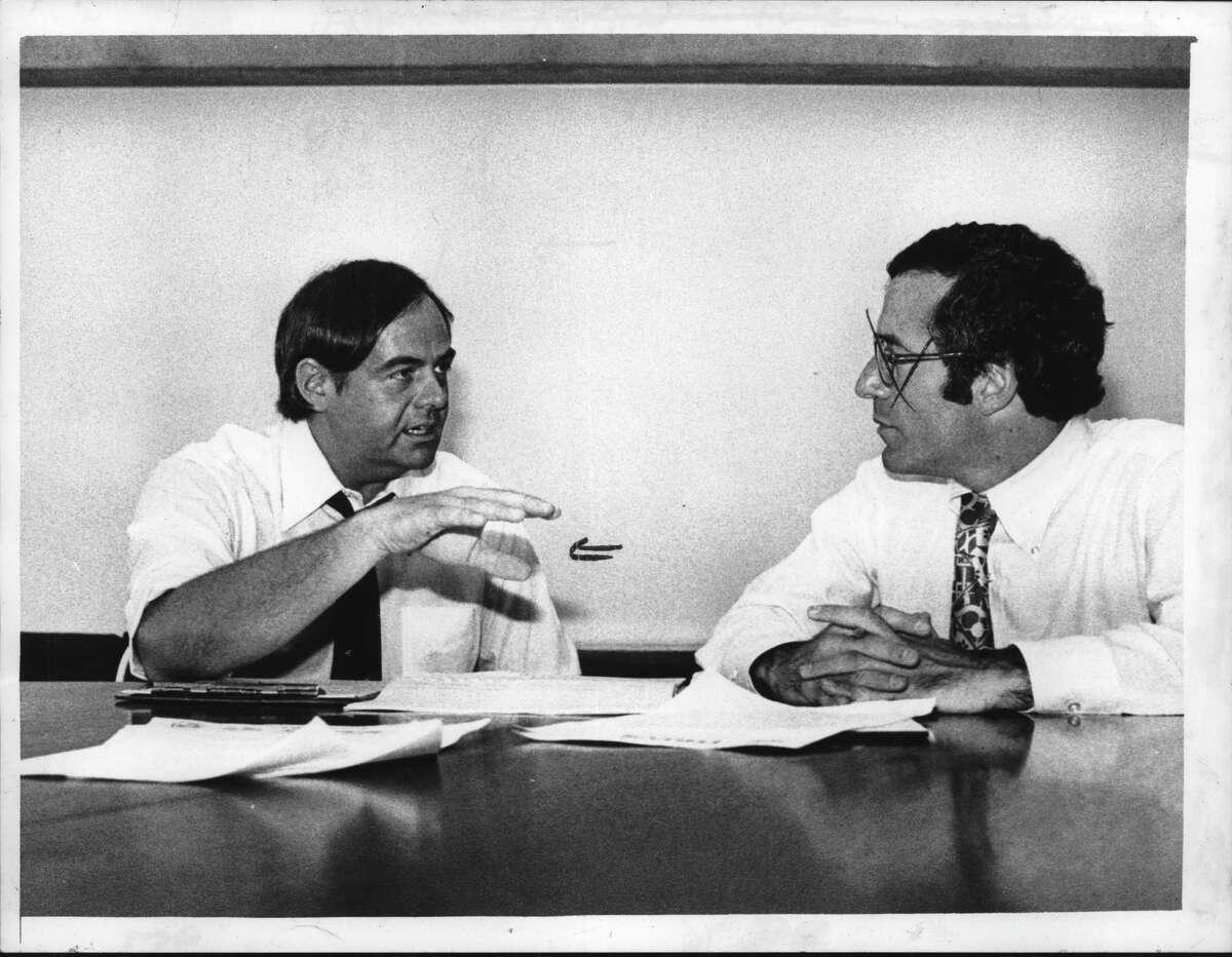 Assemblyman John Dearil with Troy, New York Mayor Steve Dworsky. August 24, 1979 (Raymond B. Summers/Times Union Archive)