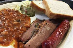 A beef and sausage plate at Bun 'N' Barrel