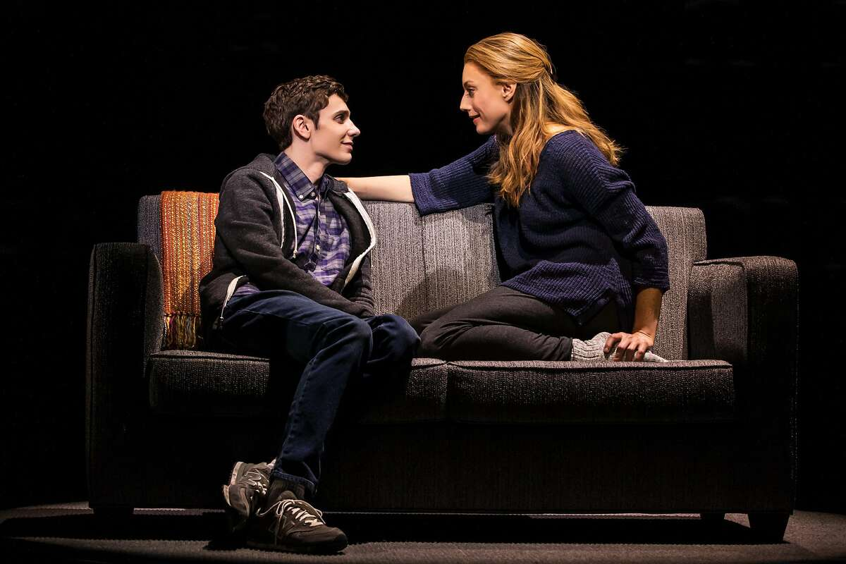 "Ben Levi Ross as Evan Hansen (left) and Jessica Phillips as Heidi Hansen in ""Dear Evan Hansen"" at the Curran."
