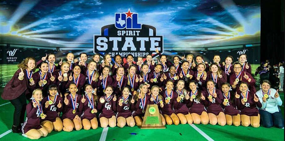 The Cinco Ranch High School cheerleading squad recently came home as the first-place winner in the UIL Division 6A Division 1 championship. Photo: Https://www.facebook.com/search/top/?q=cinco%20ranch%20cheerleaders&pa=SEARCH_BOX