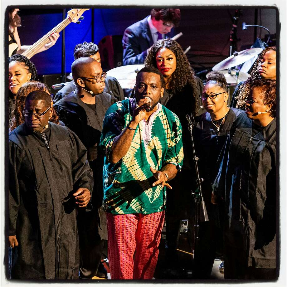 SFJazz Collective vocalist Martin Luther McCoy performs with the Robin Hodge Williams Gospel Choir at the SFJazz Gala. Jan. 30, 2020. Photo: Andrew Caulfield / Drew Altizer Photography