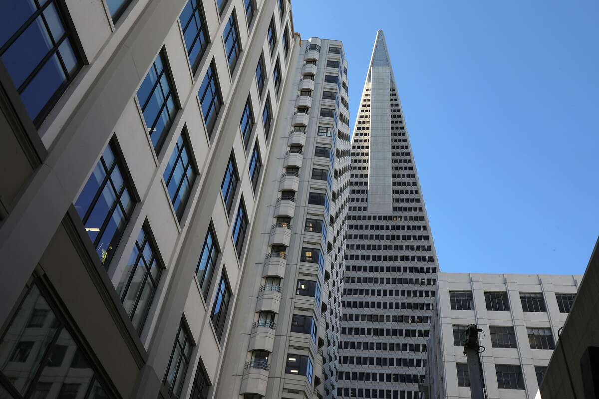The Transamerica Pyramid (middle) with 505 Sansome St. (direct left of pyramid) and 545 Sansome St. (direct lower right of pyramid) are nearing a sale on Monday, Feb. 3, 2020, in San Francisco, Calif.