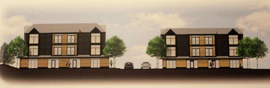 Mel Barr of Bar Associates, LLC presented a rendering for a mixed use development at 793 Post Road East to the Planning and Zoning Commission on March 1, 2018 in Westport Town Hall. Photo: Sophie Vaughan /Hearst Connecticut Media / Fairfield Citizen