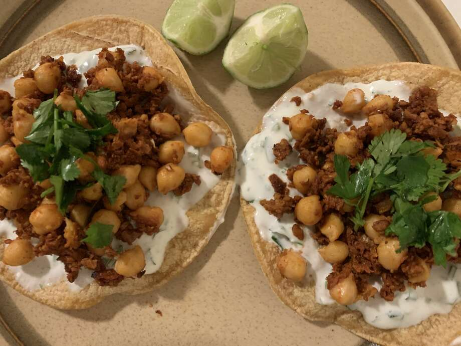 Homemade dish by Madeline: Chorizo chickpea tostadas from Bon Appetit made vegan, using soyrizo and vegan yogurt. Photo: Madeline Wells/SFGATE