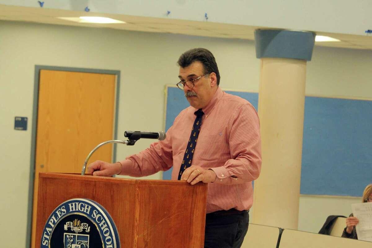 Ted Hunyadi, director of facilities, speaks at a BOE meeting. Taken Feb. 3, 2020 in Westport, Conn.