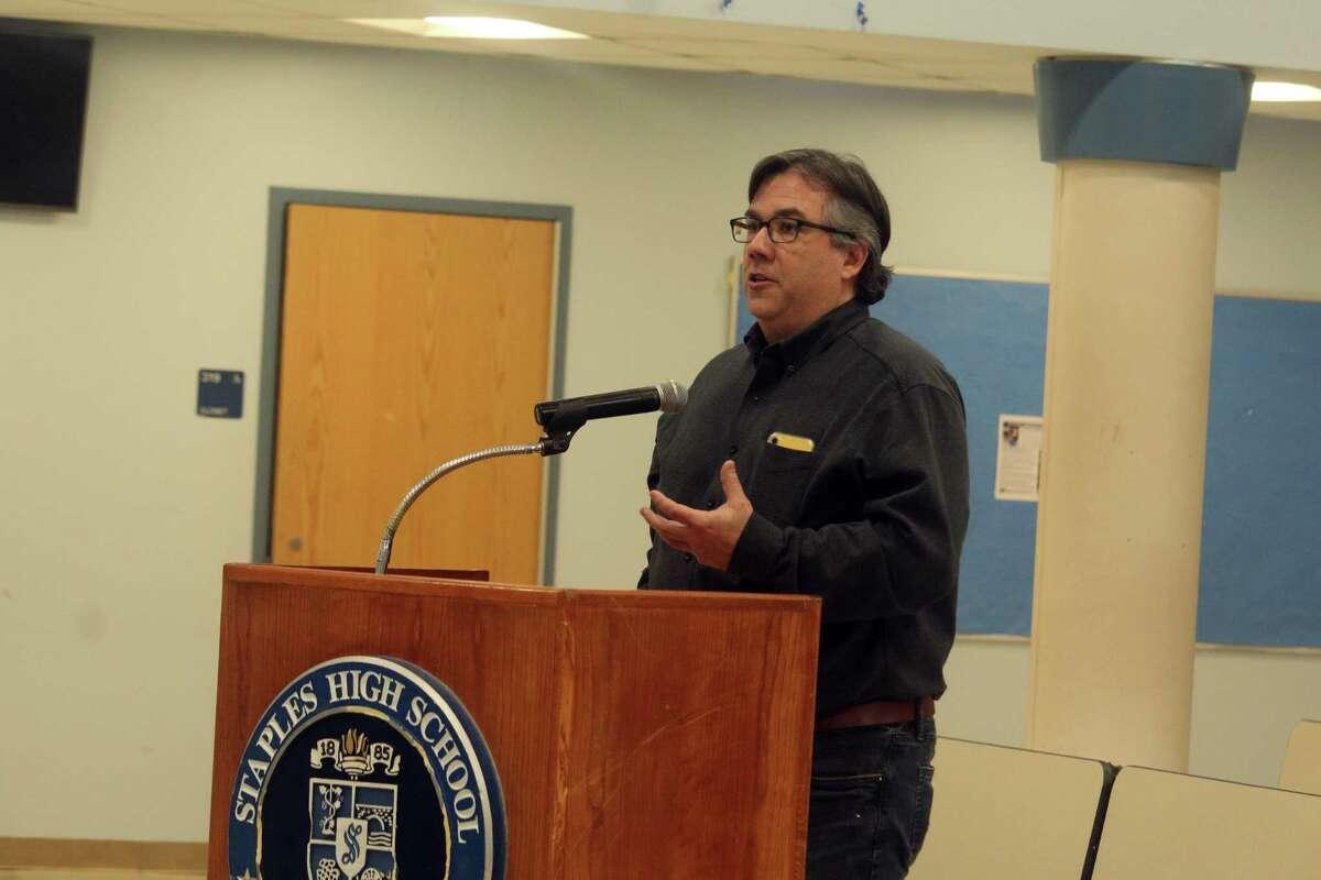 David Grealy, a Westport parent, speaks at a BOE meeting on Monday. Taken Feb. 3, 2020 in Westport, Conn.