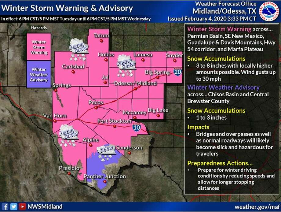 "Winter Storm Warnings and Winter Weather Advisories have been issued beginning 6 PM CST/5 PM MST Tuesday, lasting through Wednesday 6 PM CST/5 PM MST. Main impacts will be snowfall totals ranging from 3-8+"" in the Warning area, and 1-3"" in the Advisory area. Photo: NWS Midland/Odessa"