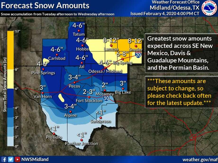Updated snow accumulations for Tuesday through Wednesday. Given this is an evolving situation, the forecast may change, though currently, it looks like the best chance for snow accumulation will be across Southeast New Mexico, the Guadalupe Mountains, and the northern Permian Basin. Photo: NWS Midland/Odessa