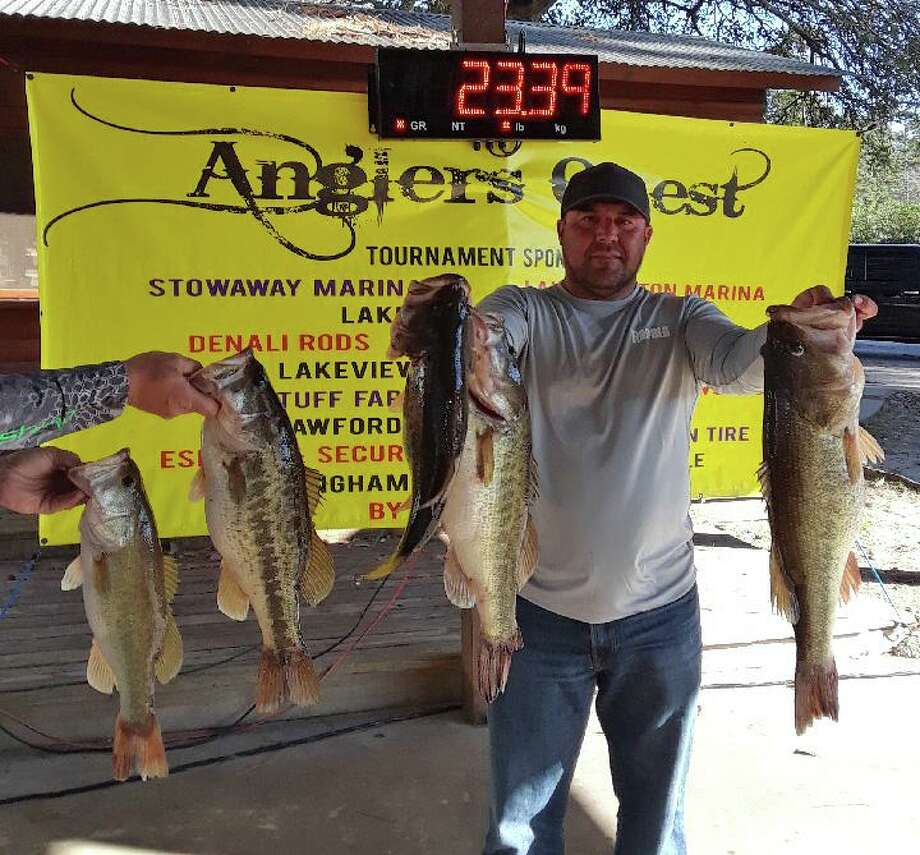 Gabe Allanis came in first place in the Anglers Quest Team Tournament #2 with a 5 fish total weight 23.39 pounds. Photo: Angler's Quest