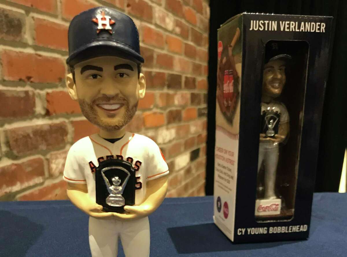 The Astros in 2020 will have 31 giveaways involving bobbleheads, jerseys, trophies or rings, including this bobblehead commemorating Jusin Verlander's Cy Young Award, to be given to fans at the April 8 game against the Mets at Minute Maid Park.