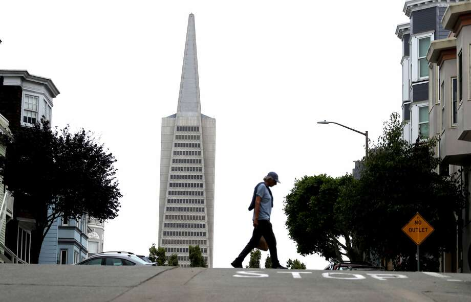 A view of the Transamerica Pyramid building on August 19, 2019 in San Francisco, California. San Francisco's iconic Transamerica Pyramid building will light up in support of healthcare workers. Photo: Justin Sullivan/Getty Images