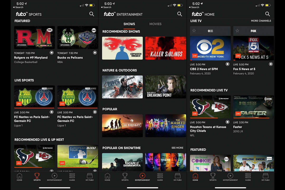 The fuboTV app is easy to navigate, with sections divided by what's on now, sports, a channel guide and on-demand content.