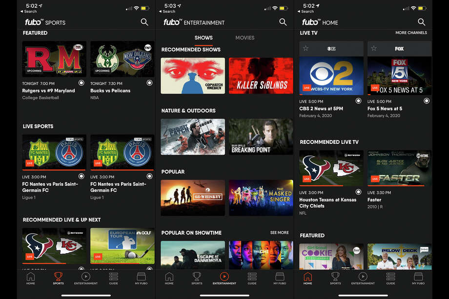 The fuboTV app is easy to navigate, with sections divided by what's on now, sports, a channel guide and on-demand content. Photo: SFGATE
