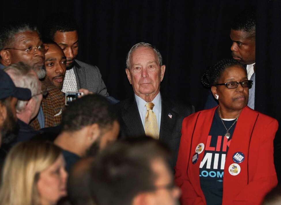 DETROIT, MI - FEBRUARY 04: Democratic presidential candidate Mike Bloomberg waits to walk on stage at his campaign rally on February 4, 2020 in Detroit, Michigan. Bloomberg is planning to skip the early primaries and focus his efforts on Super Tuesday and beyond.