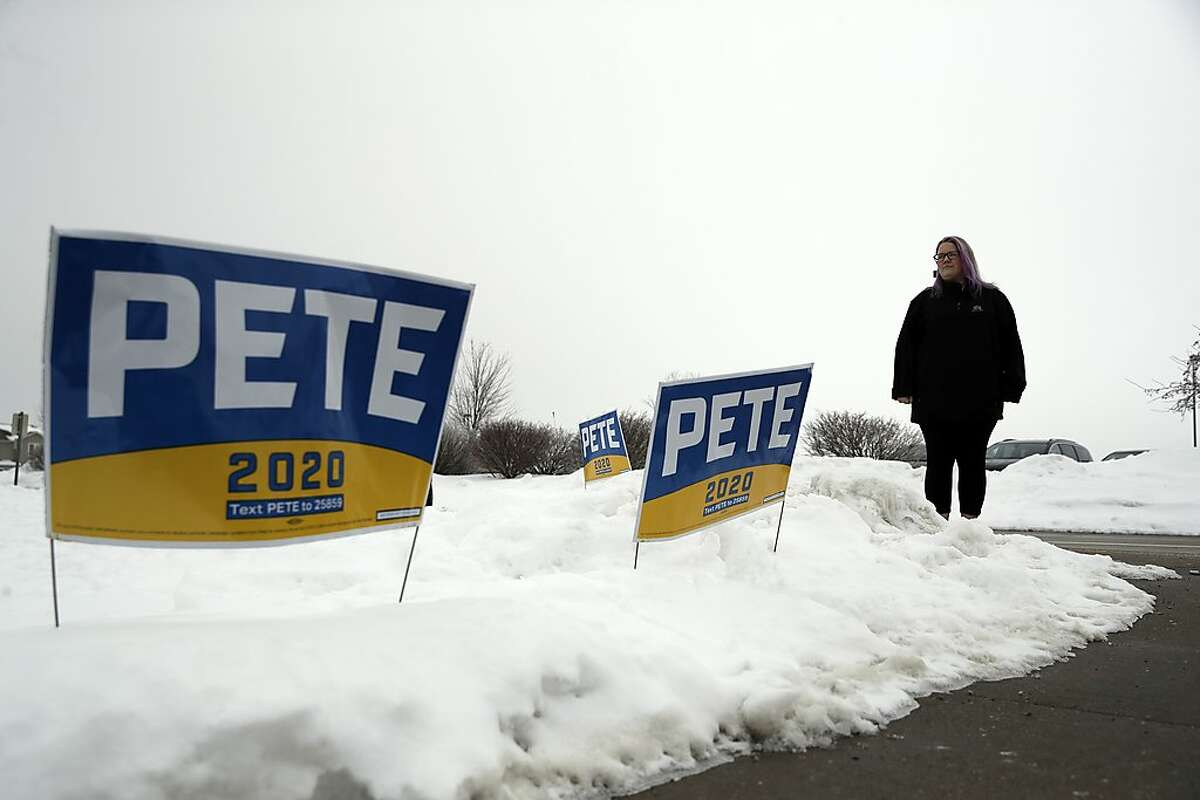 Jen Tomita poses for a portrait while attending a campaign event for Democratic presidential candidate former South Bend, Ind., Mayor Pete Buttigieg Sunday, Jan. 26, 2020, in Des Moines, Iowa. (AP Photo/Marcio Jose Sanchez)