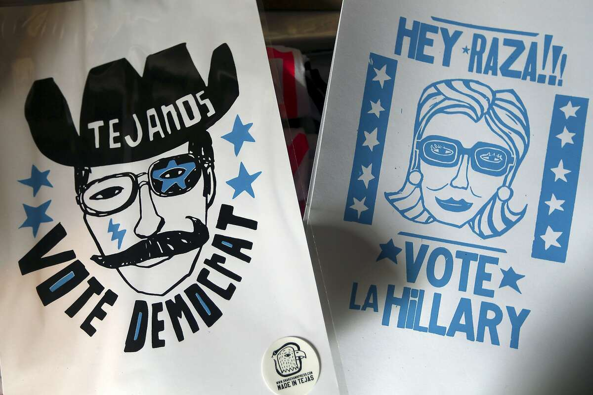 Some of San Antonio artist Cruz Ortiz's previous artworks supporting the Democratic Party are seen May 12, 2016 in his studio. He has been selected to produce artwork for the Texas Democratic Convention being held in San Antonio June 16-18.