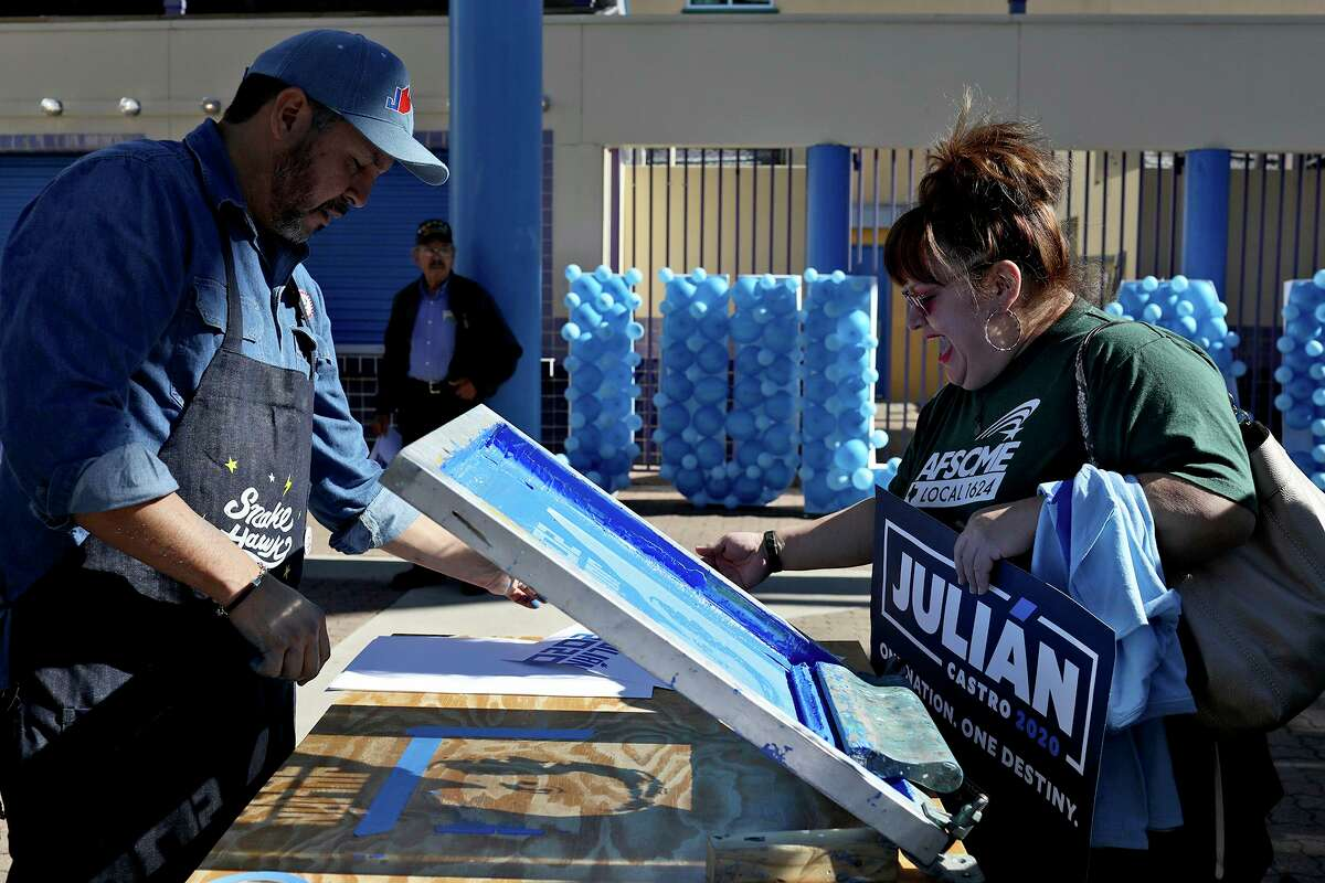 Cruz Ortiz creates posters of Juli‡n Castro, former HUD Secretary and former mayor of San Antonio, on a screen printing press, for supporters including Yvonne Flores, of Austin, after Castro announced his run for President last January. Ortiz has announced that he is moving to Houston.