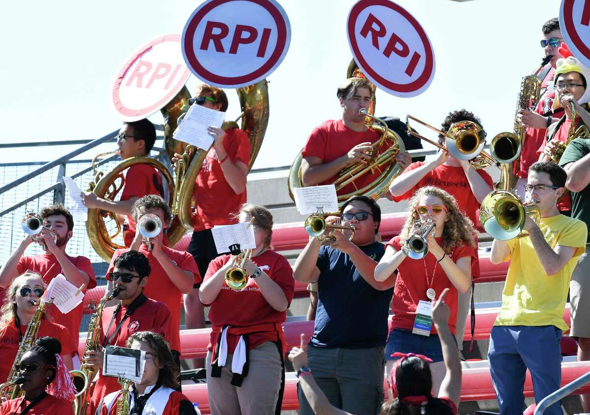 The Rensselaer Polytechnic Institute band is seen during the first half of an NCAA college football game against Anna Maria Saturday, Sept. 28, 2019, in Troy, N.Y. (Hans Pennink / Special to the Times Union)