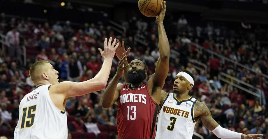 PHOTOS: Rockets game-by-game Houston Rockets' James Harden (13) shoots as Denver Nuggets' Nikola Jokic (15) and Torrey Craig (3) defend during the second half of an NBA basketball game Wednesday, Jan. 22, 2020, in Houston. The Rockets won 121-105. (AP Photo/David J. Phillip) Browse through the photos to see how the Rockets have fared in each game this season. Photo: David J. Phillip/Associated Press