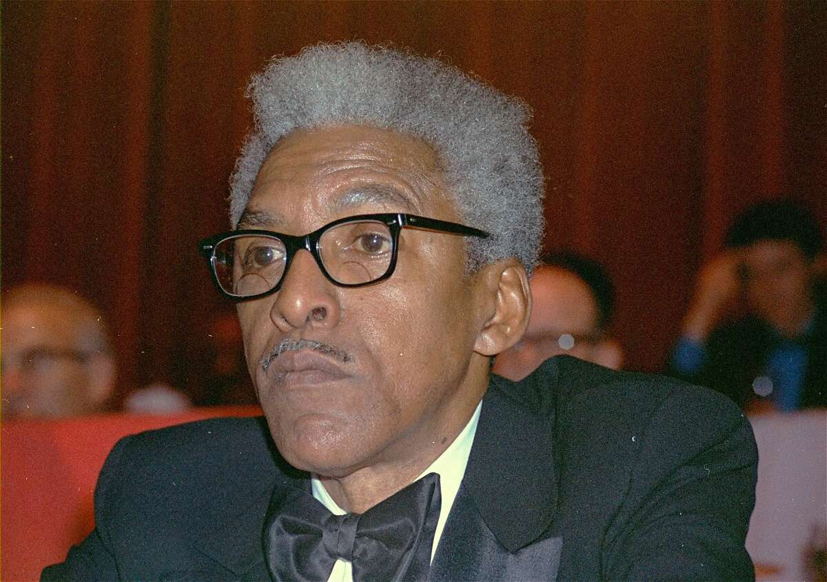 FILE - In this Dec. 14, 1970 file photo, civil rights leader Bayard Rustin is shown at the N.Y. Hilton. California lawmakers, state Sen. Scott Wiener, D-San Francisco, and Assemblywoman Shirley Weber, D- San Diego, called on Gov. Gavin Newsom to posthumously pardon Rustin, who was jailed for having gay sex nearly 70 years ago, during a Capitol news conference in Sacramento, Calif., Tuesday, Jan. 21, 2020. (AP Photo/RF, File)