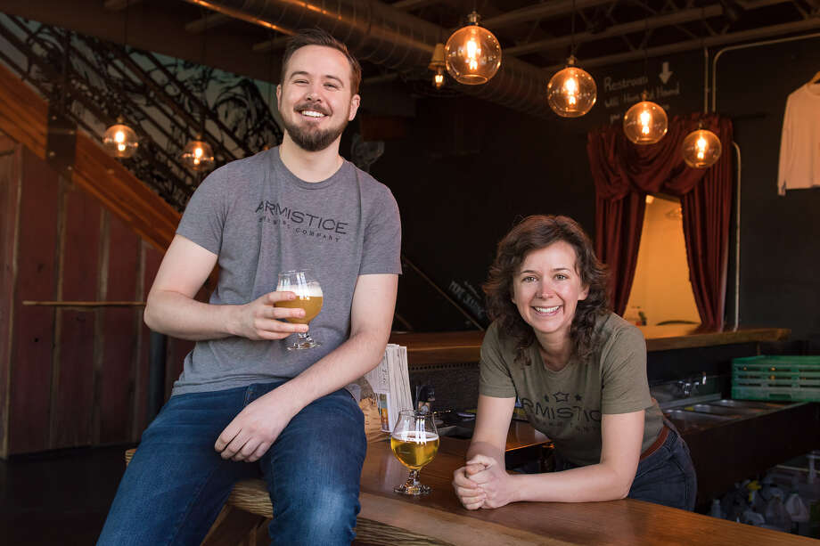 Alex (right) and Gregory Zobel, founders of Armistice Brewing Company, are seen on Feb. 4, 2020 in Richmond, Calif. They specialize in popular styles like IPAs and traditional English beers. Photo: Blair Heagerty / SFGate