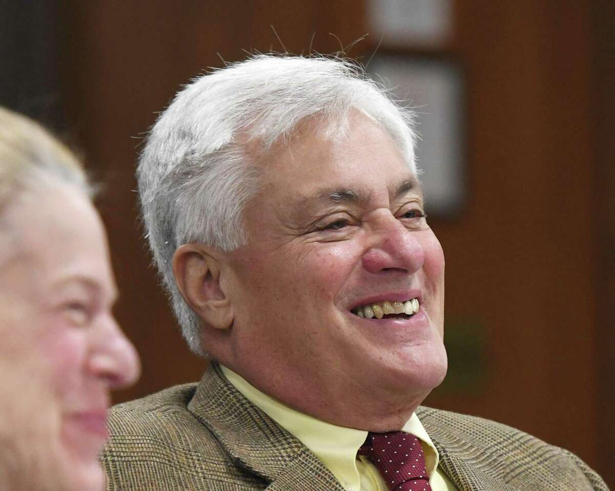 BET Budget Committee member Jeffrey Ramer laughs during the Greenwich Board of Estimate and Taxation Budget Committee Meeting at Town Hall in Greenwich, Conn. Tuesday, Feb. 4, 2020.