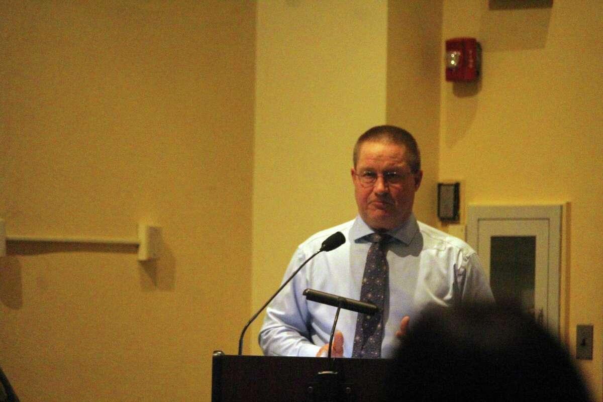 Director of Public Works Pete Ratkiewich speaks at the RTM meeting on Tuesday. Taken Feb. 4, 2020 in Westport, Conn.