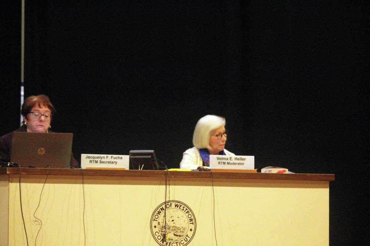 RTM Secretary Jacquelyn Fuchs and RTM Moderator Velma Heller listen on at a RTM meeting on Feb. 4.