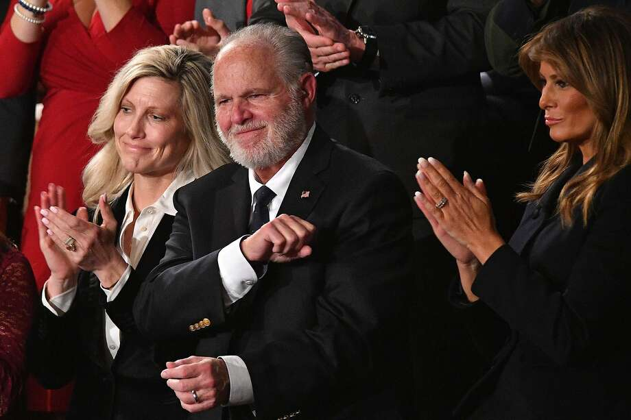 Radio personality Rush Limbaugh pumps his fist as he is acknowledged by US President Donald Trump as he delivers the State of the Union address at the US Capitol in Washington, DC, on February 4, 2020. (Photo by MANDEL NGAN / AFP) (Photo by MANDEL NGAN/AFP via Getty Images) Photo: Mandel Ngan, AFP Via Getty Images