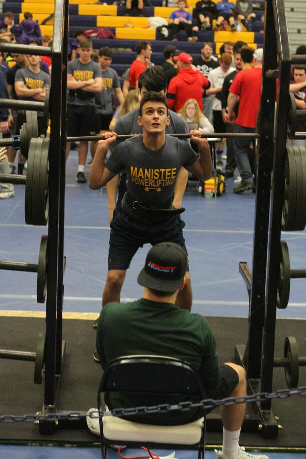 The Manistee powerlifting team had a good showing at a regional meet at Manistee High School on Feb. 1, 2020. Photo: Dylan Savela/News Advocate