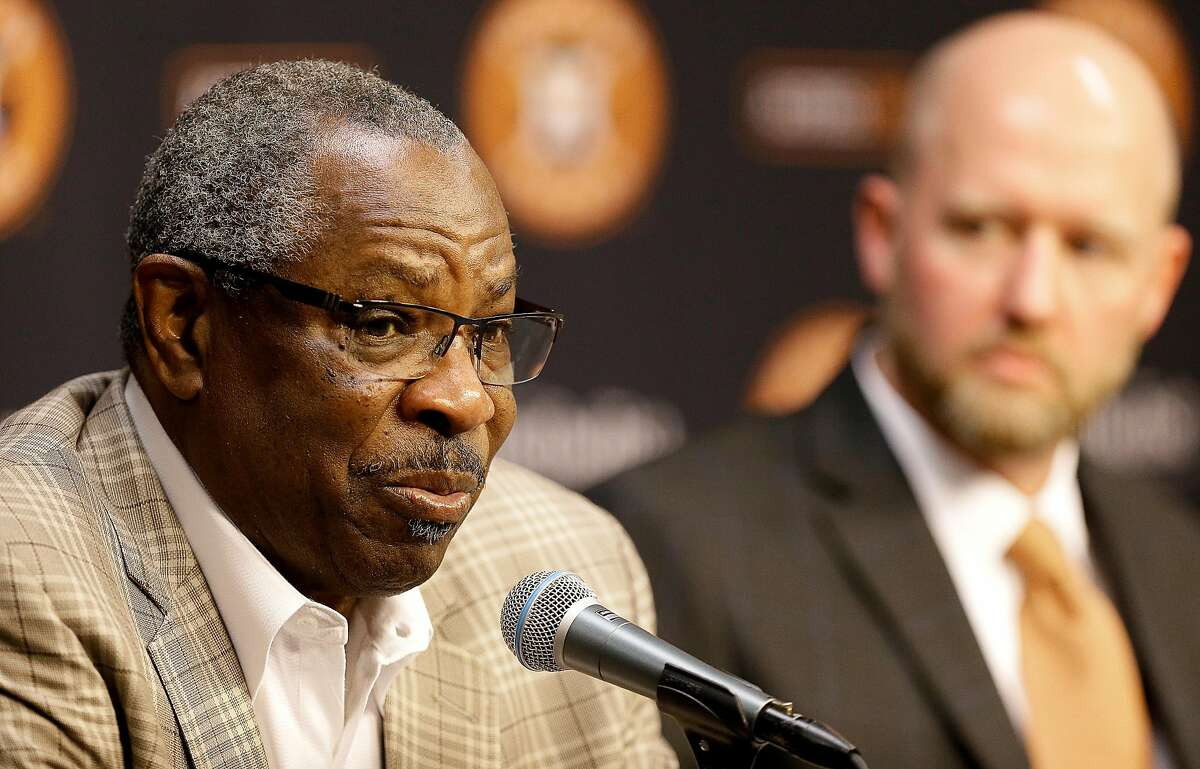 HOUSTON, TEXAS - FEBRUARY 04: Dusty Baker, manager of the Houston Astros speaks with the media as James Click is introduced as the new general manager of the Houston Astros at Minute Maid Park on February 04, 2020 in Houston, Texas. (Photo by Bob Levey/Getty Images)