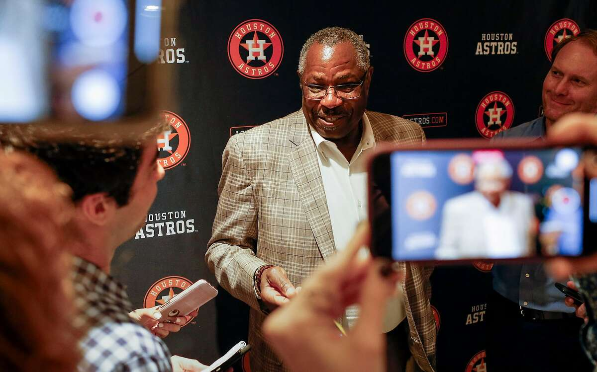 Dusty Baker, the new manager of the Houston Astros, speaks to reporters Tuesday, Feb. 4, 2020, at Minute Maid Park in Houston.