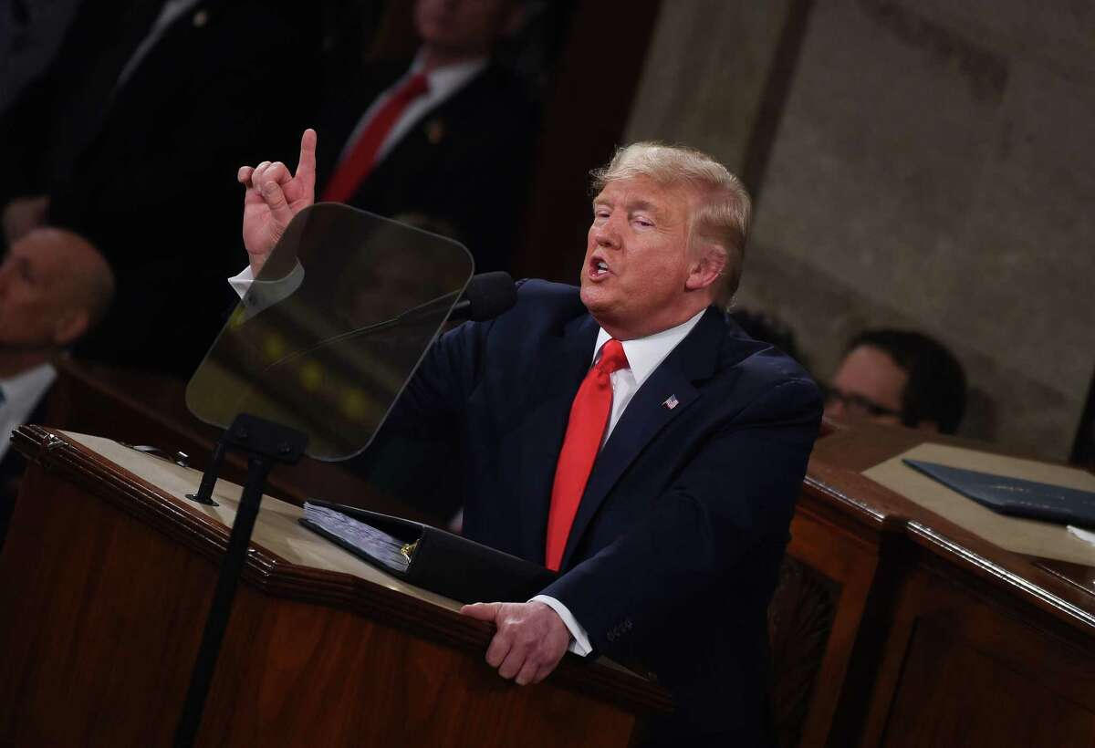 US President Donald Trump delivers the State of the Union address at the US Capitol in Washington, DC, on February 4, 2020. (Photo by Olivier DOULIERY / AFP) (Photo by OLIVIER DOULIERY/AFP via Getty Images)