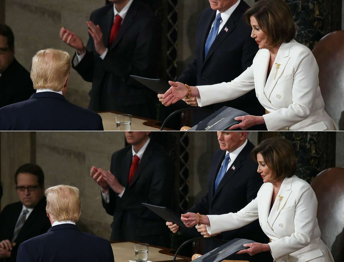 (COMBO) This combination of pictures created on February 04, 2020 shows Speaker of the US House of Representatives Nancy Pelosi extending a hand to US president Donald Trump ahead of the State of the Union address at the US Capitol in Washington, DC, on February 4, 2020; and Speaker of the US House of Representatives Nancy Pelosi extends a hand to US president Donald Trump ahead of the State of the Union address at the US Capitol in Washington, DC, on February 4, 2020. (Photos by Olivier DOULIERY / AFP) (Photo by OLIVIER DOULIERY/AFP via Getty Images)