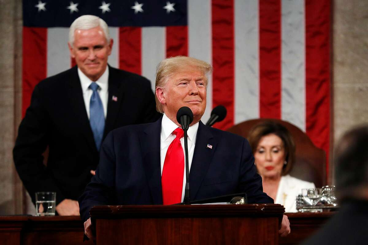 WASHINGTON, DC - FEBRUARY 04: U.S. President Donald Trump arrives to deliver the State of the Union address in the House chamber on February 4, 2020 in Washington, DC. Trump is delivering his third State of the Union address on the night before the U.S. Senate is set to vote in his impeachment trial. (Photo by Leah Millis-Pool/Getty Images)