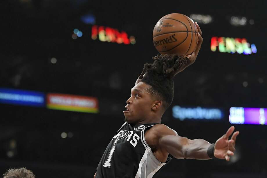 San Antonio Spurs guard Lonnie Walker IV goes up for a dunk during the first half of the team's NBA basketball game against the Los Angeles Lakers on Tuesday, Feb. 4, 2020, in Los Angeles. (AP Photo/Mark J. Terrill) Photo: Mark J. Terrill, Associated Press