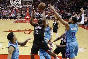 Houston Rockets guard James Harden (13) shoots as Charlotte Hornets forward Miles Bridges (0) defends during the first half of an NBA basketball game Tuesday, Feb. 4, 2020, in Houston. (AP Photo/Eric Christian Smith)
