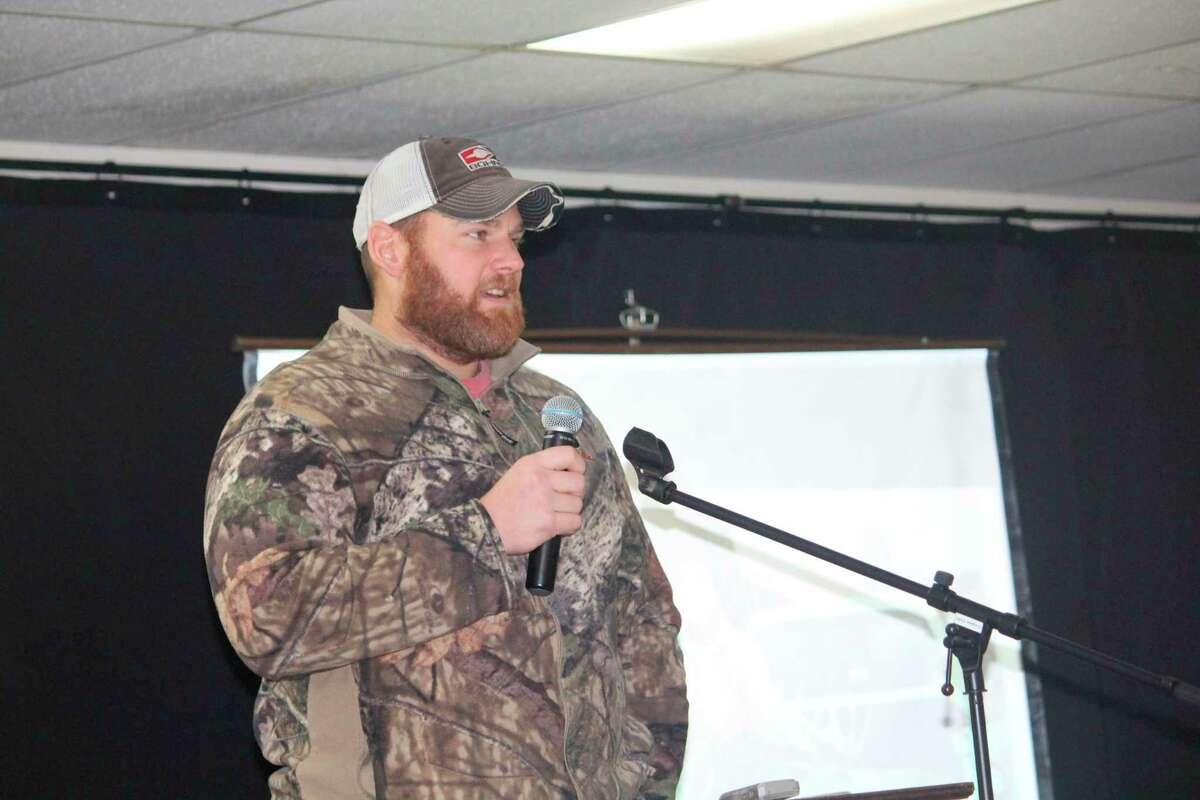Reed City's Jason May talks about his successful deer hunting season. (Herald Review photo/John Raffel)