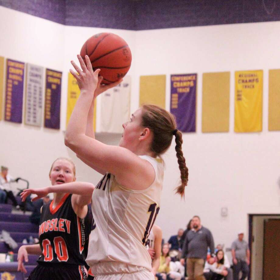 Madi Odette takes a short jumper on the wing during Frankfort's loss to Kingsley on Thursday night. (Photo/Robert Myers)
