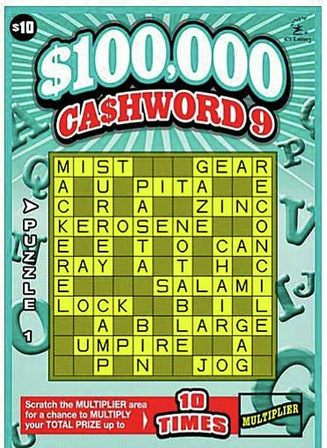 A Torrington woman recently cashed in a winning $10 scratch-off ticket worth $100,000. The odds of winning that top prize in the Cashword instant game is 1 in 250,000. Photo: CT Lottery Image
